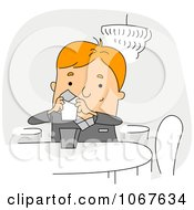 Clipart Restaurant Crew Worker Reading A Note Royalty Free Vector Illustration