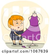 Clipart Fashion Designer Working On A Dress Royalty Free Vector Illustration