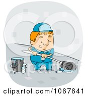 Clipart Custodian Mopping A Floor Royalty Free Vector Illustration