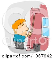 Clipart Painter Working On A House Exterior Royalty Free Vector Illustration