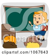 Clipart Teacher In Front Of A Class Royalty Free Vector Illustration