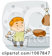 Clipart Butcher Cutting Meat Royalty Free Vector Illustration