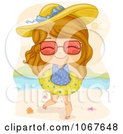 Clipart Summer Girl On The Beach With An Inner Tube Royalty Free Vector Illustration