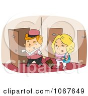 Clipart Bellboy Walking A Woman To Her Room Royalty Free Vector Illustration by BNP Design Studio