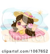 Clipart Summer Girl Sun Bathing On The Beach Royalty Free Vector Illustration by BNP Design Studio