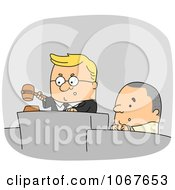 Clipart Judge And Defendant On The Stand Royalty Free Vector Illustration
