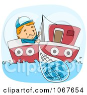 Clipart Fisherman Reeling In A Net Royalty Free Vector Illustration