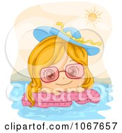 Clipart Summer Girl Floating On An Inner Tube Royalty Free Vector Illustration