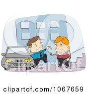 Clipart Man Arriving At Valet Parking Royalty Free Vector Illustration