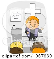 Clipart Priest Speaking In Church Royalty Free Vector Illustration