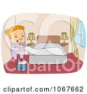 Clipart Chambermaid Making A Bed Royalty Free Vector Illustration