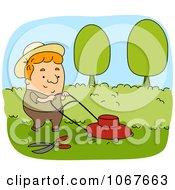 Clipart Gardener Mowing A Lawn Royalty Free Vector Illustration