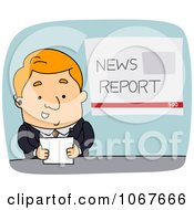 Clipart Newscaster Holding A Card Royalty Free Vector Illustration
