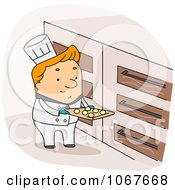 Clipart Baker Putting Cookie Dough In The Oven Royalty Free Vector Illustration by BNP Design Studio