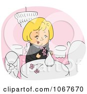 Clipart Restaurant Crew Worker Arranging Flowers Royalty Free Vector Illustration