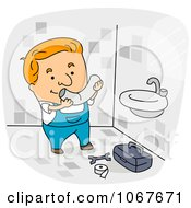 Clipart Plumber Installing A Sink Royalty Free Vector Illustration by BNP Design Studio
