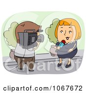 Clipart Cameraman And Female News Reporter Royalty Free Vector Illustration