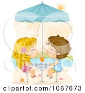 Clipart Summer Kids Sharing A Soda On The Beach Royalty Free Vector Illustration