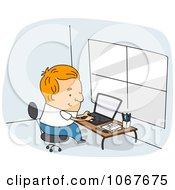 Clipart Author Writing On His Laptop Royalty Free Vector Illustration
