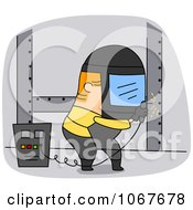 Clipart Welder Working On A Structure Royalty Free Vector Illustration