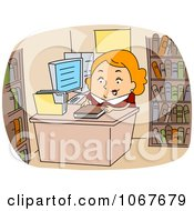 Clipart Librarian Checking In Books Royalty Free Vector Illustration by BNP Design Studio