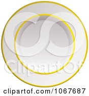 Clipart 3d Gold And White China Plate Royalty Free Vector Illustration
