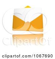Clipart 3d Letter In An Orange Envelope Royalty Free Vector Illustration