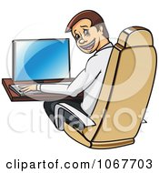 Clipart Happy Businessman Working At A Desk And Looking Back Royalty Free Vector Illustration