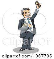 Clipart Banker Holding Cash Bundles Royalty Free Vector Illustration