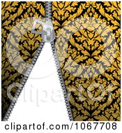 Clipart Zipper Through Gold Damask Royalty Free Vector Illustration