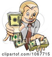 Clipart Rich Businessman Holding Cash Bundles Royalty Free Vector Illustration