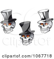 Clipart Skulls Wearing Top Hats Royalty Free Vector Illustration