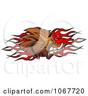 Clipart Profiled Boar And Flames Royalty Free Vector Illustration
