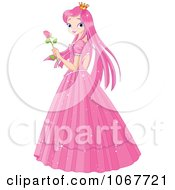 Clipart Pink Princess Holding A Rose Royalty Free Vector Illustration