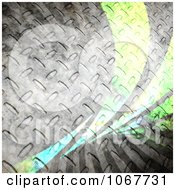 Clipart Steel Grungy Diamond Plate And Green Swoosh Background Royalty Free CGI Illustration