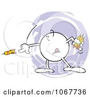 Clipart Moodie Character Throwing Darts Royalty Free Vector Illustration