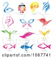 Clipart Colorful Animal Logo Icons Royalty Free Vector Illustration