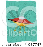 Clipart UFO On A Retro Turquoise Swirl Royalty Free Vector Illustration
