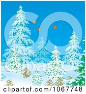 Clipart Three Birds Flying In A Winter Forest Royalty Free Illustration