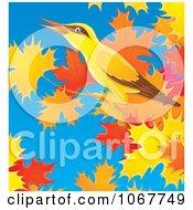 Clipart Bird In An Autumn Maple Tree Royalty Free Illustration