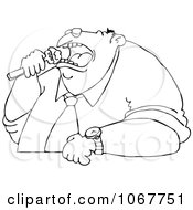 Clipart Outlined Fat Man Eating Royalty Free Vector Illustration