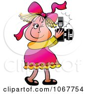 Clipart Little Girl Taking Photos Royalty Free Vector Illustration