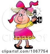 Clipart Little Girl Taking Photos Royalty Free Vector Illustration