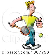 Clipart Male Tennis Player Holding A Thumb Up Royalty Free Vector Illustration