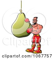 Clipart Boxer Taking A Bite Out Of A Pear Punching Bag Royalty Free Vector Illustration