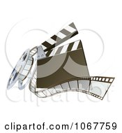 Clipart 3d Clapperboard And Film Reel Royalty Free Vector Illustration