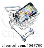 Clipart 3d Cell Phone With Apps In A Shopping Cart Royalty Free Vector Illustration