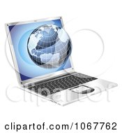 Clipart 3d Blue Globe Emerging From A Laptop Royalty Free Vector Illustration