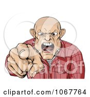 Clipart Angry Skinhead Man Yelling And Pointing Royalty Free Vector Illustration