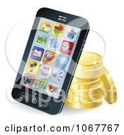 Clipart 3d Cellphone Resting Against Gold Coins Royalty Free Vector Illustration by AtStockIllustration